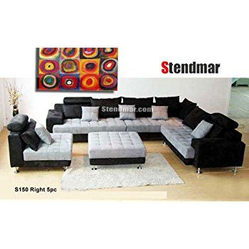 Latest Amazon 5PC NEW MODERN GRAY MICROFIBER BIG SECTIONAL SOFA SET S150RG Home Elegant - Luxury big sectional sofas Lovely