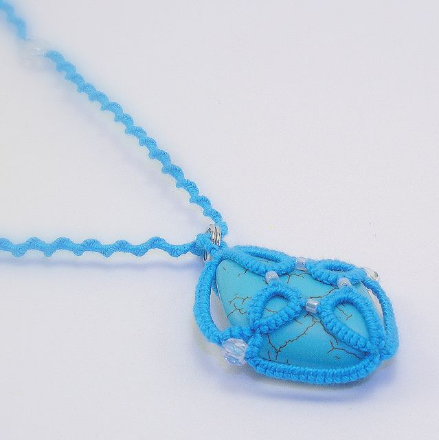 Turquoise tatted chakra necklace, via Flickr.   frivolite ...