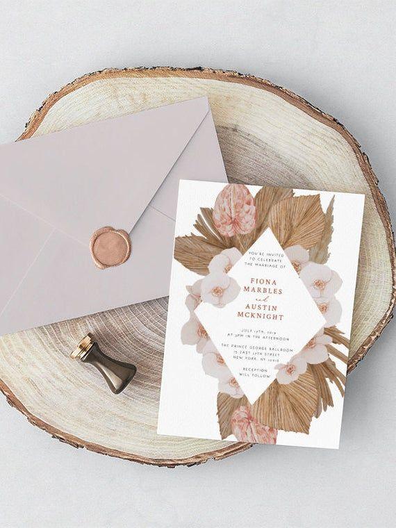 Boho Wedding Invitation Blush Orchid Wedding Pampas Grass