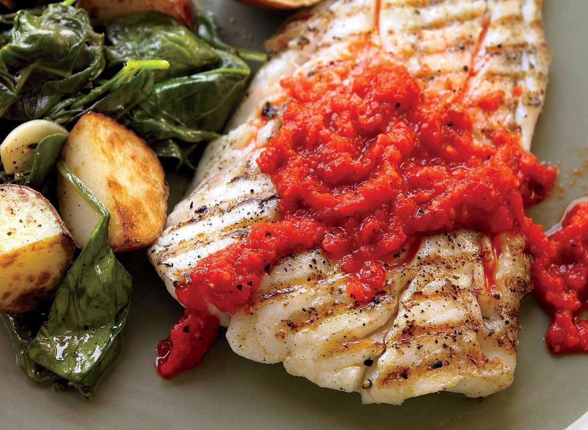 Grilled Mahi Mahi In Spicy Red Pepper Sauce Recipe Eat This Not That Recipe Stuffed Peppers Pepper Sauce Recipe Grilled Mahi Mahi
