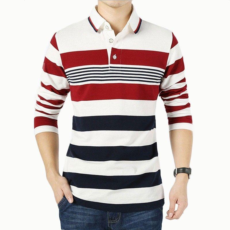 Camisa Polo Listrada Elegante Masculina Manga Longa  8cb6bb9896dcd