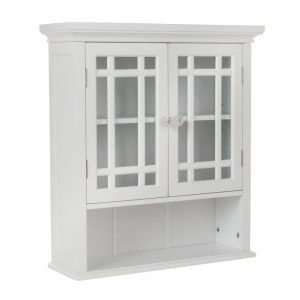 Elegant Home Fashions Albion 22 In. D Bathroom Storage Wall Cabinet With 2  Glass Doors In White At The Home Depot   Mobile