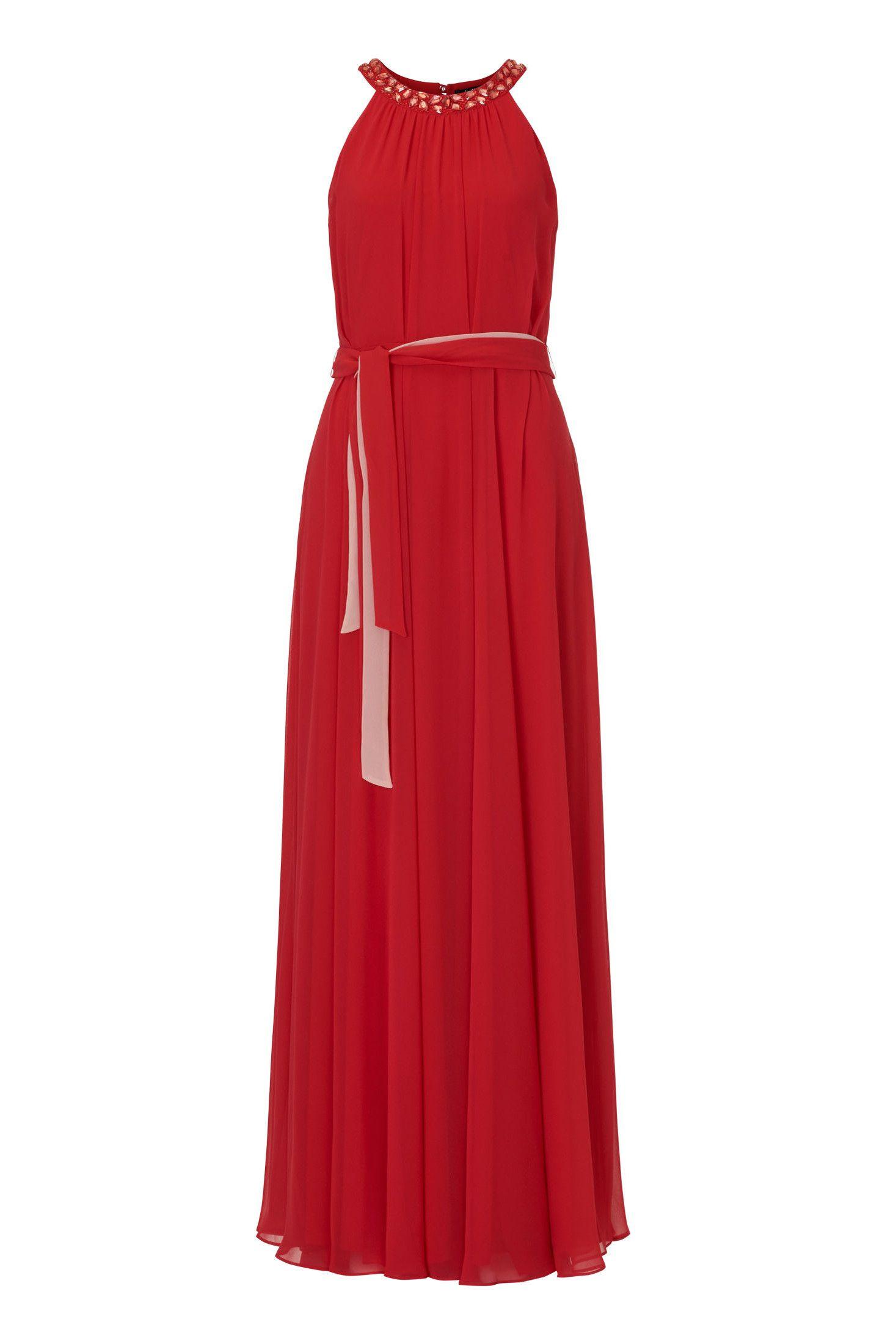 Langes Chiffonkleid Rot Vera Mont  Mode Bösckens  Abendkleid