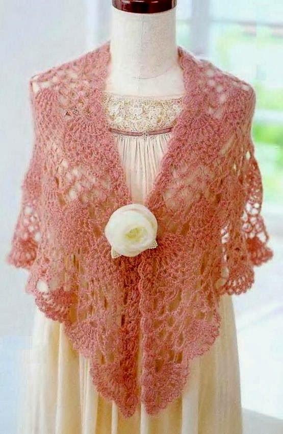 Chales ganchillo: Modelo Chal de ganchillo - Crochet Lace Piña ...