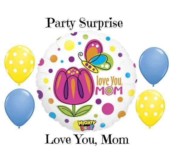 Mom Love You Balloons Mothers Day Birthday I By PartySurprise