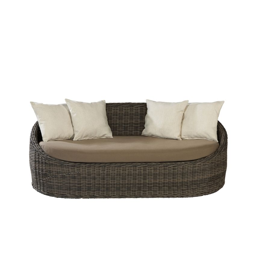 Wonderful Shop Allen + Roth Sylvan Park Brown Wicker Patio Loveseat With Solid Tan  And White Cushion