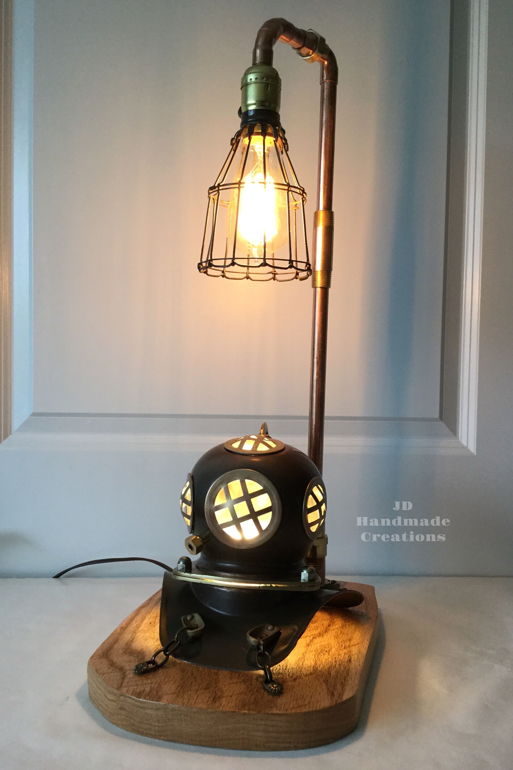 Copper And Brass Lamp With Wooden Base Has A 3 Way Switch So The Light In The Diving Helmet Can Be Used As A Nightlight Lamp Helmet Light Handmade Lamp