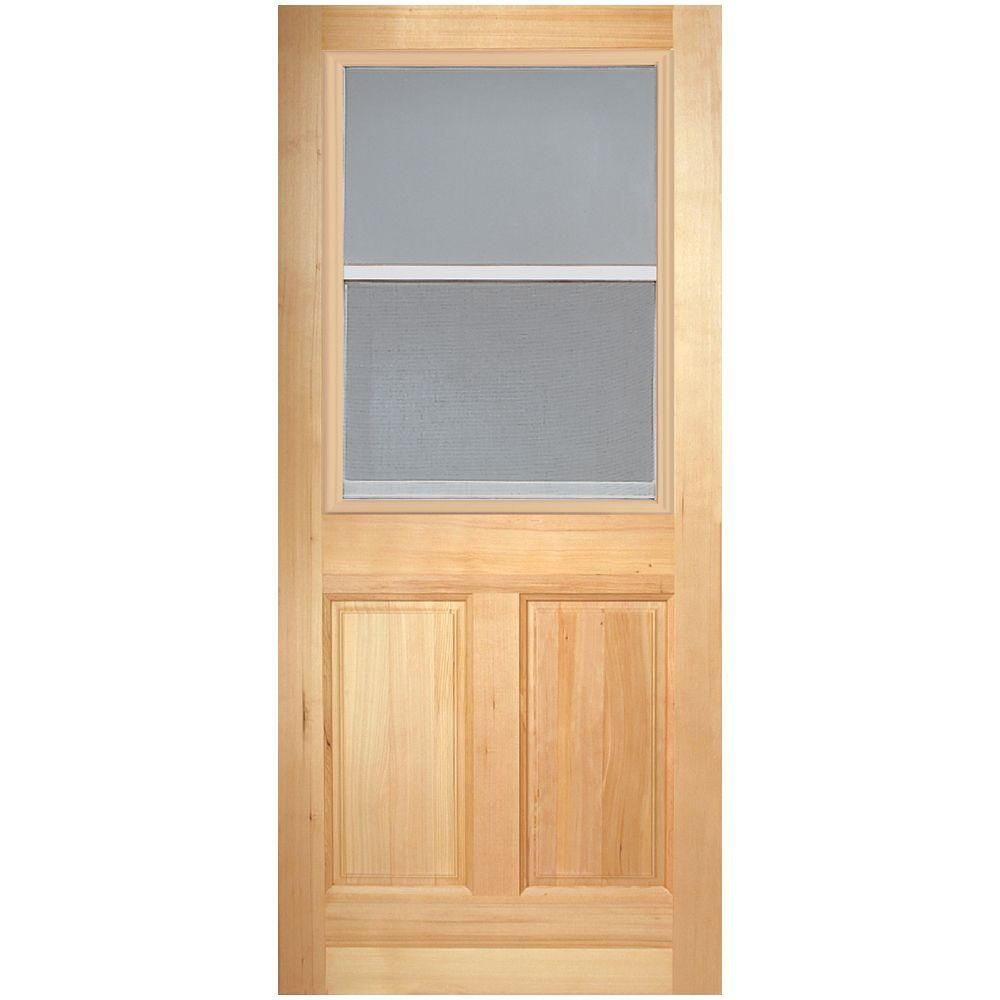 Masonite 30 In X 80 In 2 Panel Venting 1 2 Lite Clear Glass Unfinished Fir Front Exterior Door Slab 82730 The Home Depot Wood Exterior Door Exterior Doors Exterior Front Doors