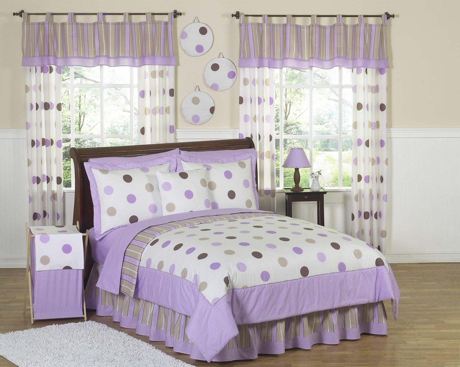 purple & brown polka dot bedding twin full/queen girls comforter