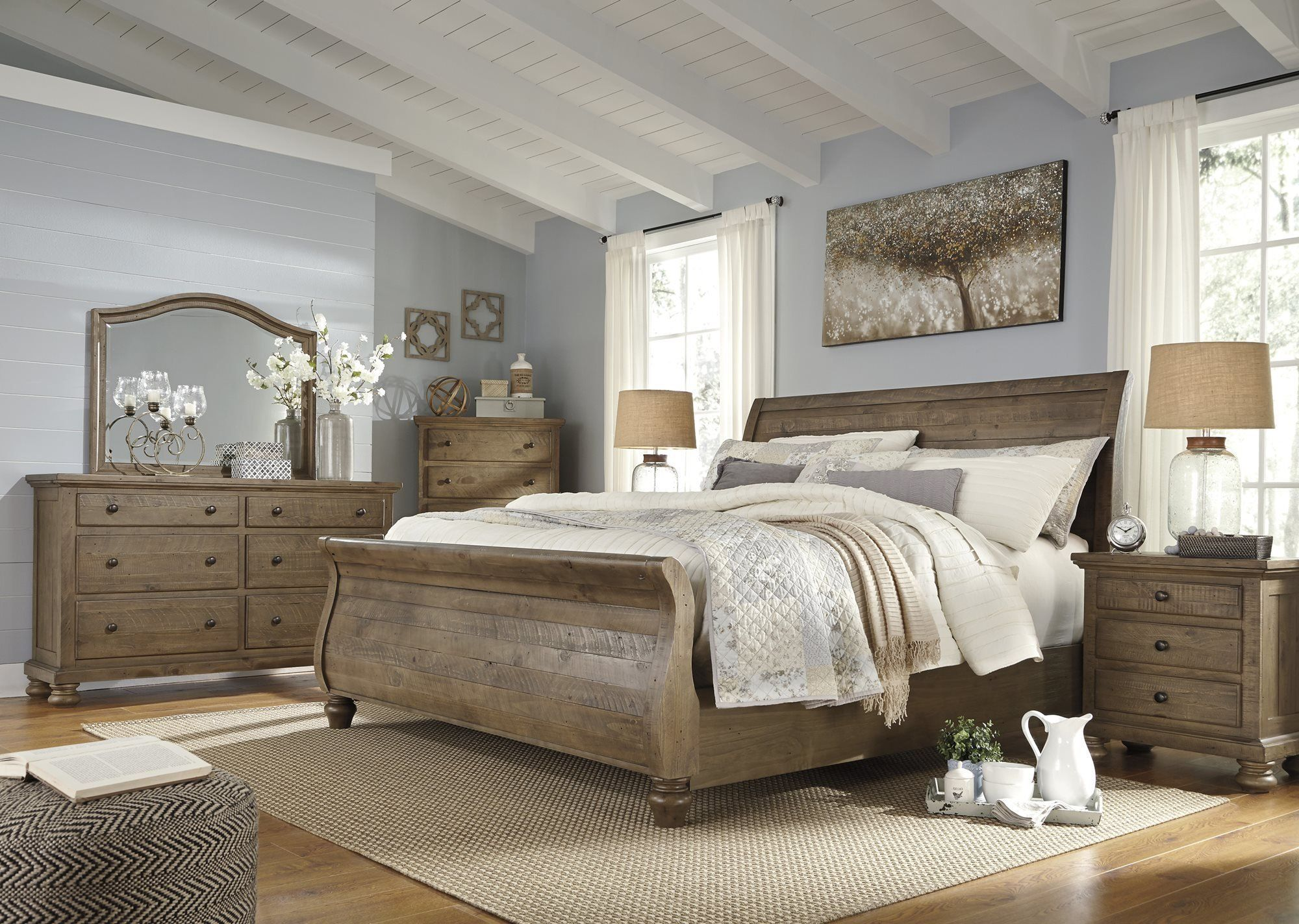 Ashley Trishley 5pc Bedroom Set E King Sleigh Bed Two Nightstand Dresser Mirror In Light Brown Co King Bedroom Sets King Bedroom Furniture Bedroom Sets Queen