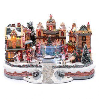 de03203c5c7 Escena de Navidad con pista de baile en movimiento 25x40x40 cm ...
