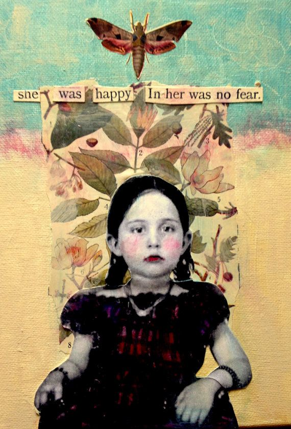 Fearless vintage inspired mixed media portrait painting by MaudstarrArt