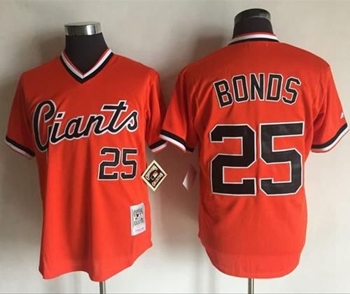 bd2efde8563 Mitchell And Ness Giants  25 Barry Bonds Orange Throwback Stitched MLB  jerseys
