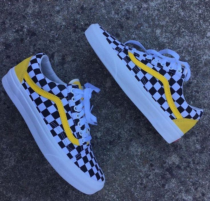 black checkered vans with yellow stripe nz