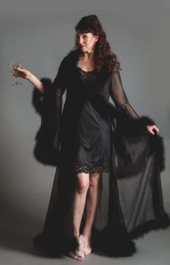 Ready to ship now! - Chiffon dressing gown robe with marabou feather ...