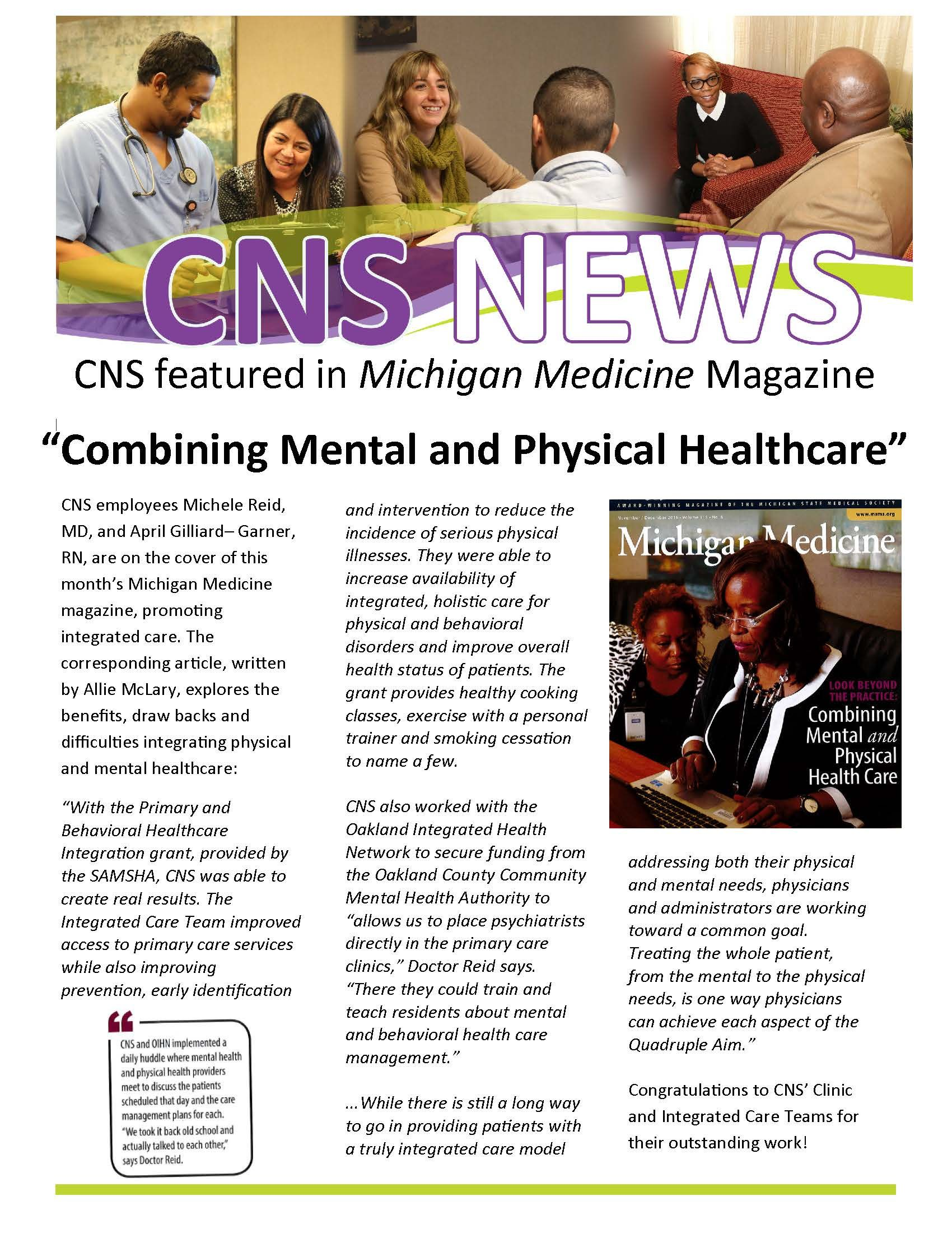 CNS is on the cover of Michigan Medicine Magazine!