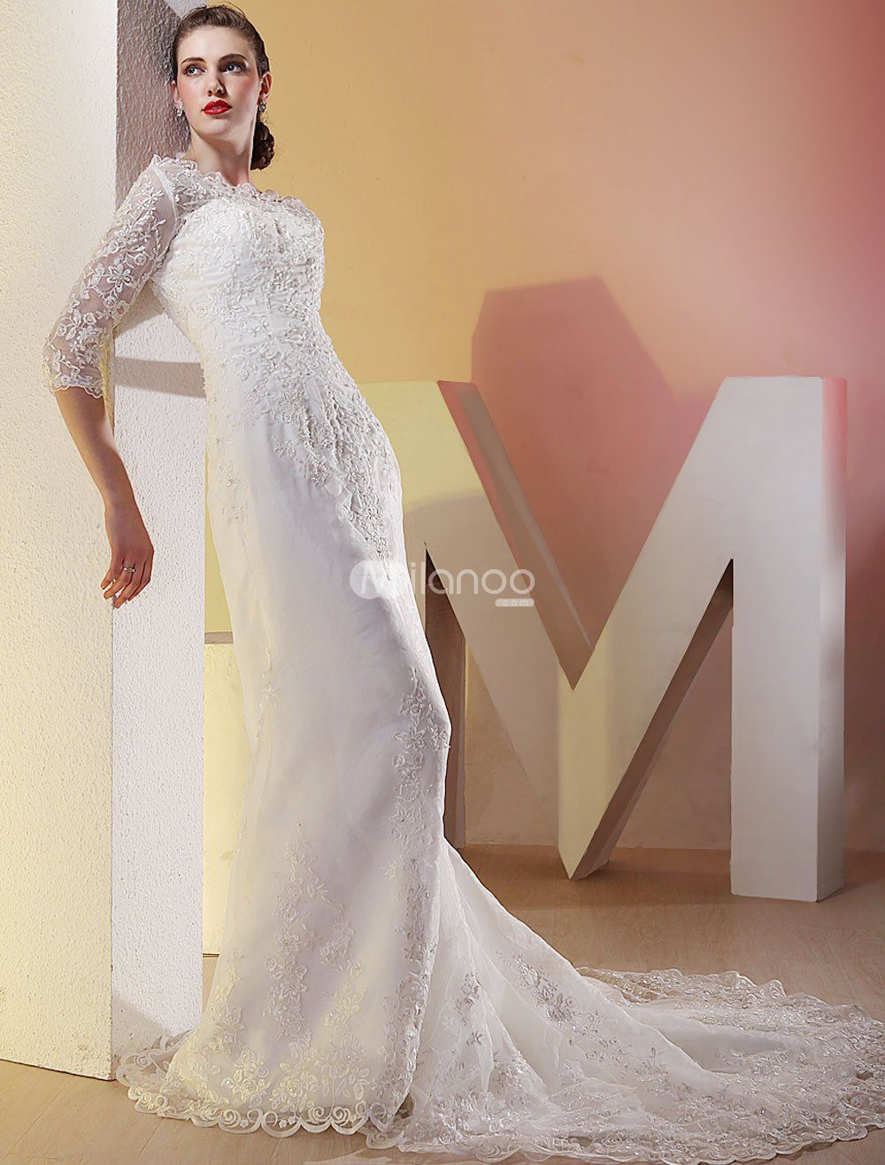 White lace wedding dress with sleeves  White Satin Three Quarter Sleeves Floor Length Luxury Wedding Dress
