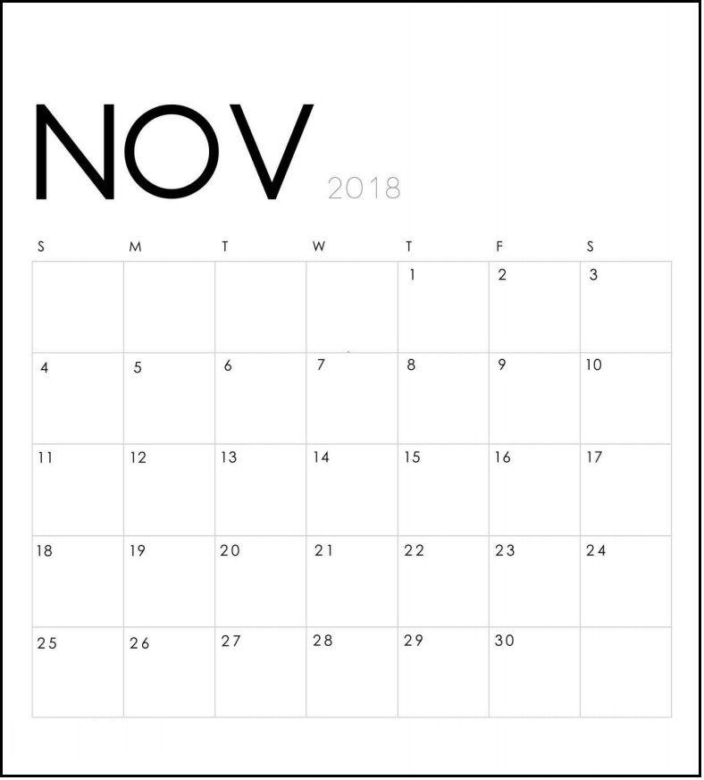 Printable November 2018 Calendar November Printable Calendar