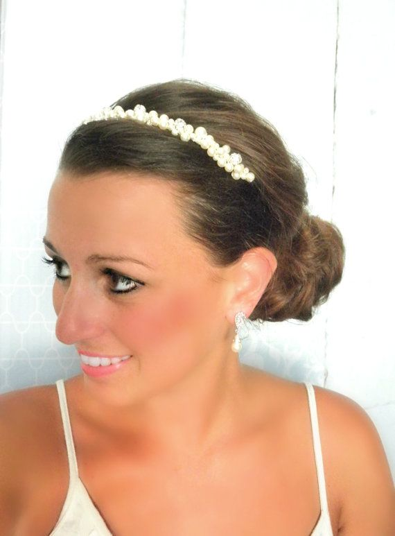 Bridal Head Piece with Swarovski Pearls and by AliChristineBridal