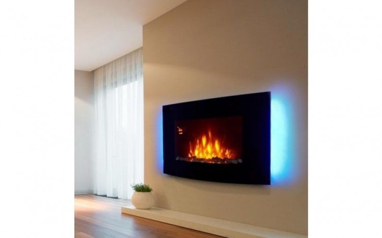 Admirable 2000W Electric Fireplace Heater Led Lights Curved Glass Wall Download Free Architecture Designs Parabritishbridgeorg