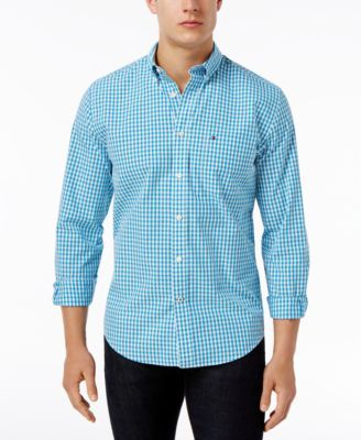 TOMMY HILFIGER Tommy Hilfiger Men'S Long-Sleeve Twain Check Classic Fit Shirt. #tommyhilfiger #cloth #down shirts