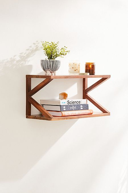 Lucy Double Wooden Wall Shelf | Wooden wall shelves, Wall ...
