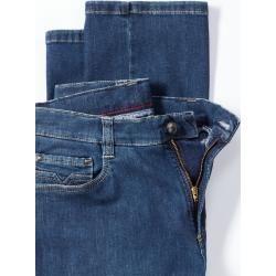 Photo of Walbusch Herren Bügelfrei-Jeanshose Modern Fit Blau einfarbig flexibler Bund Walbusch
