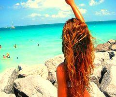 blue water, white sand, tan skin