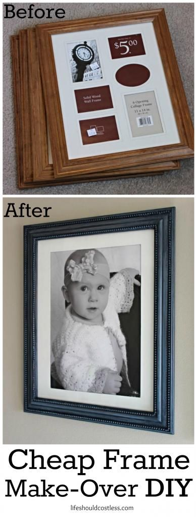 Cheap frame make-over DIY. Four XL frames were purchased at a thrift ...