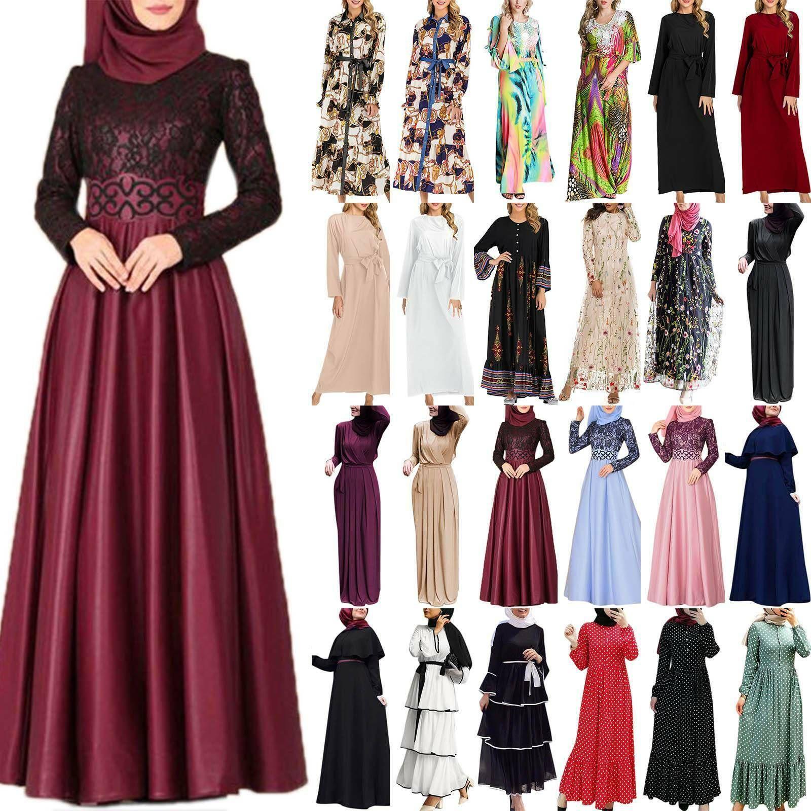 Damen Muslim Kleider Abaya Islamische Dubai Lang Kaftan