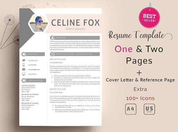 Celine-Resume Template 2 Pages @creativework247 Resume Templates