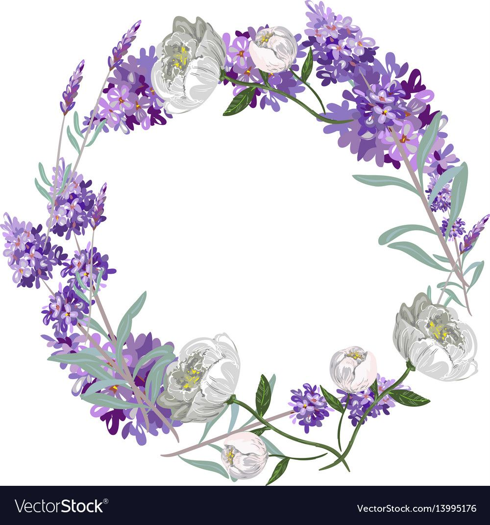 Lavender and peony round frame template vector image on