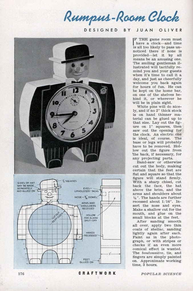 Rumpus Room Designs: Rumpus-Room Clock - Popular Science (Oct, 1941)