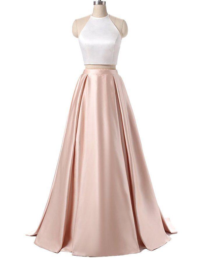 Light Pink Prom Dress, Simple Satin Prom Dress, 2 Pieces Prom ...