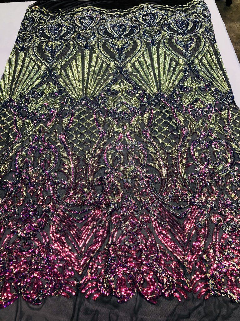IRIDESCENT GREEN SEQUINDAMASK DESIGN EMBROIDERY ON A 4 WAY STRETCH MESH-BY YARD