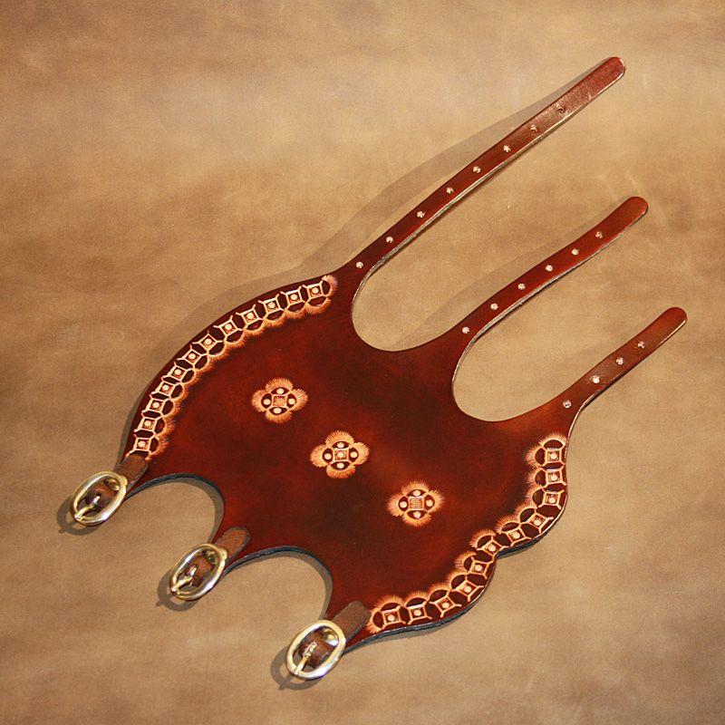 Geometric design bracers Hand tooled free shipping