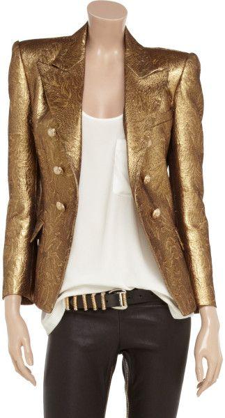 Balmain Gold Metallic Doublebreasted Brocade Jacket | Gold jacket outfit,  Balmain clothing, Balmain jacket