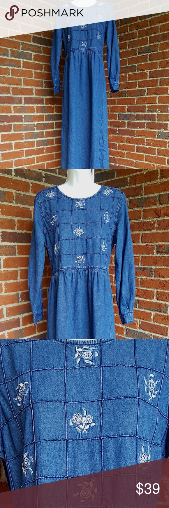 Vintage erika u co denim maxi dress wembroidery vintage erika u co