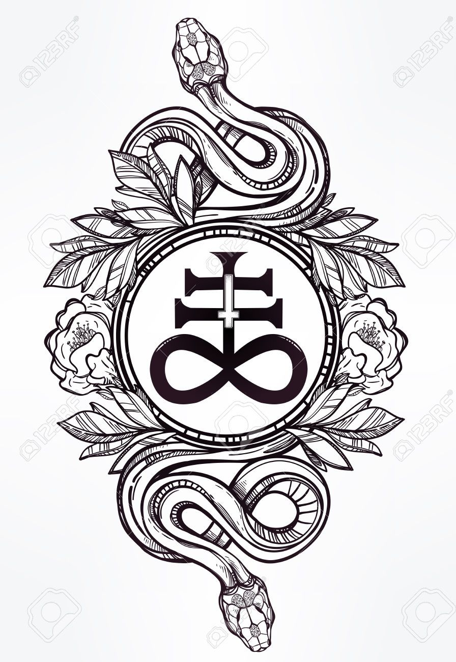 Image result for occult symbols in art pinteres vintage symbol highly detailed hand drawn snakes with satanic cross symbol of satan in linear style buycottarizona