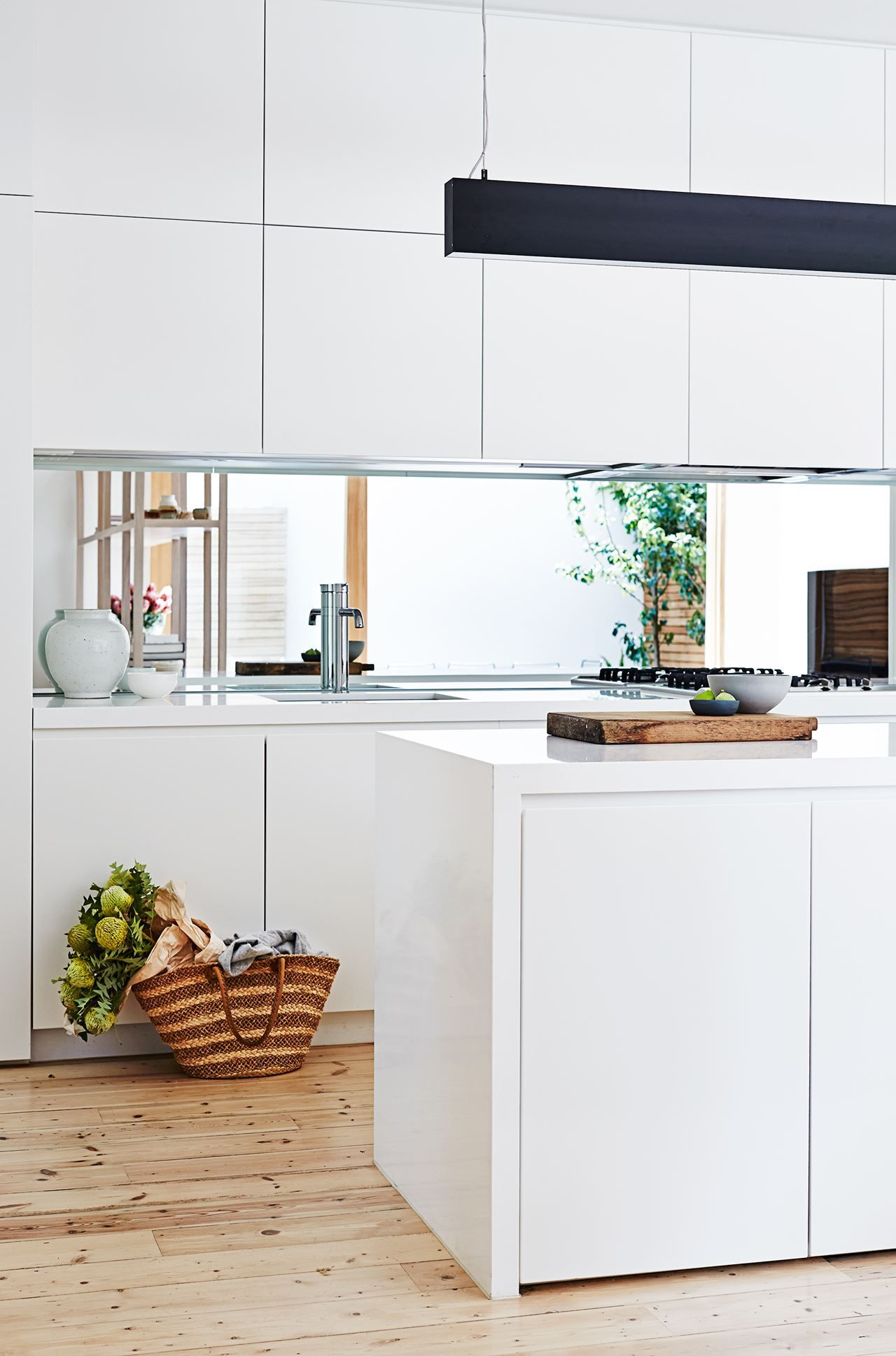 kitchen matt pendant lighting gallery penny s fresh edwardian house renovation black white handleless cabinets mirror splashback long light storage in island