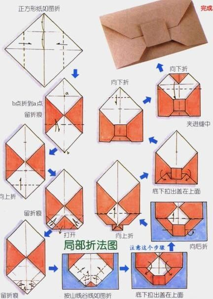 Folding Diagram For An Origami Envelope With A Square Closure