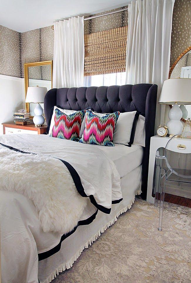 Lucyu0027s guest bedroom headboard u0026 curtain set