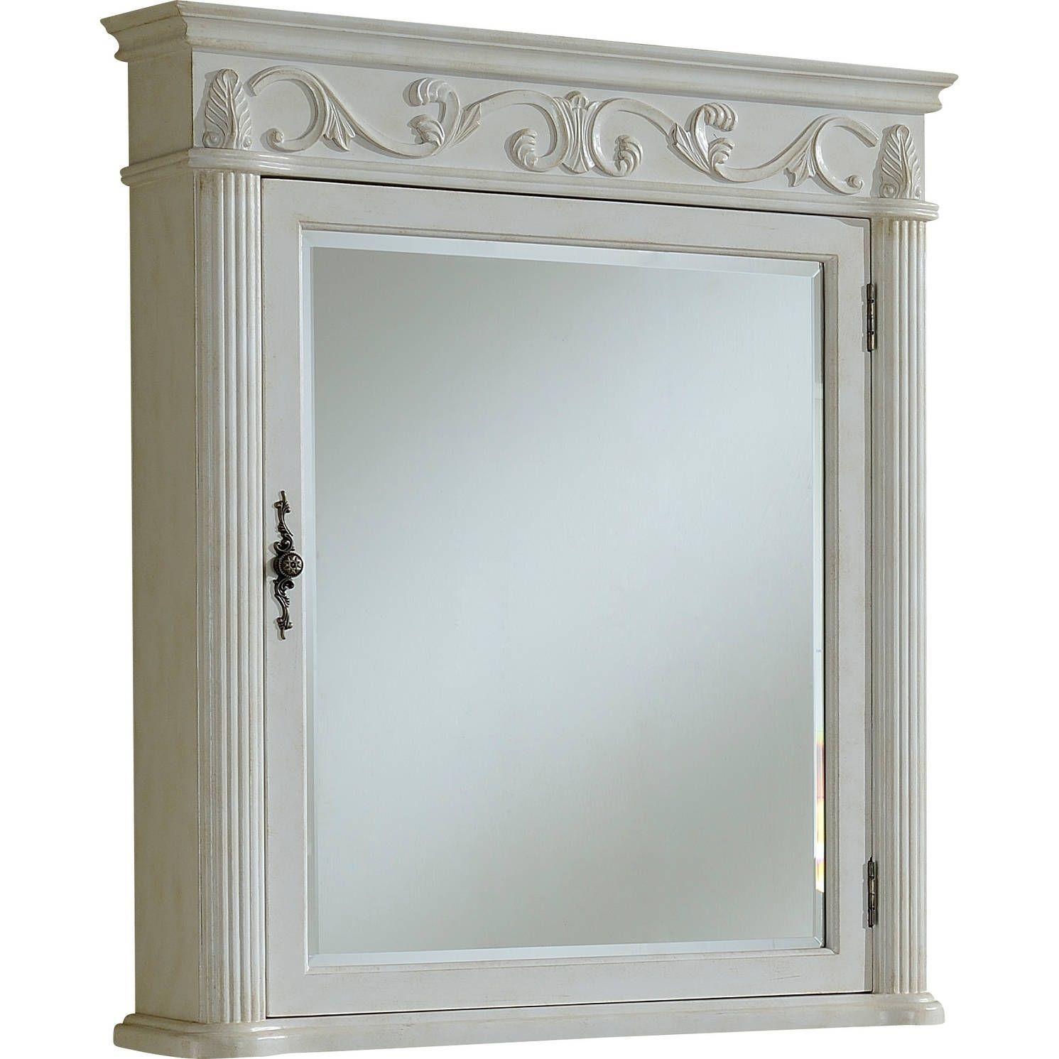 Heritage Roman 32 Antique White Medicine Cabinet - Antique White (Birchwood) - Heritage Roman 32 Antique White Medicine Cabinet - Antique White