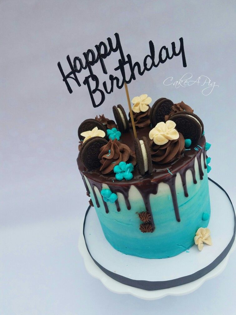 Drippy Oreo Cake Watercolor Buttercream Blue Chocolate Cake