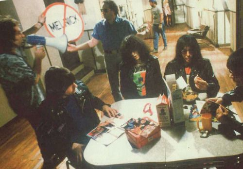 """suicidewatch:  The Ramones shooting the video for """"I Wanna Be Sedated""""."""