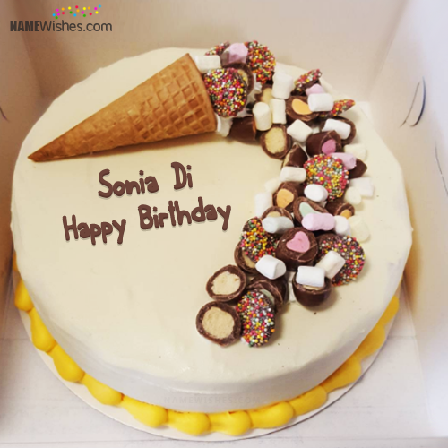 The Name Sonia Di Is Generated On Write Name On Ice Cream Cake