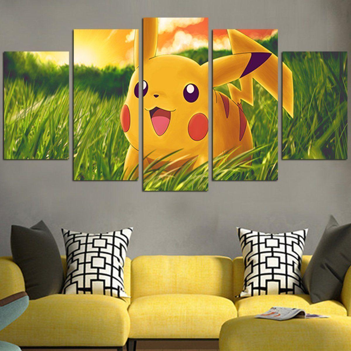 5 panel pikachu in grassland wall art canvas canvas wall