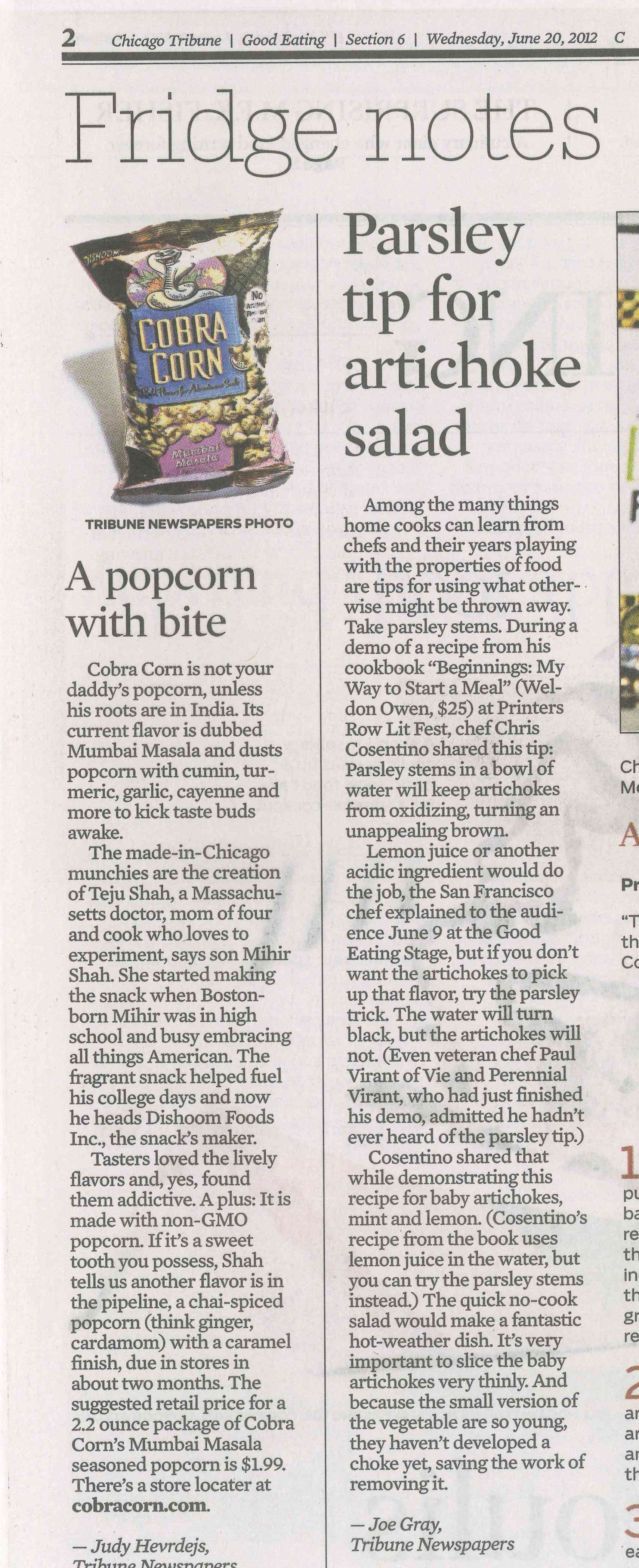 Cobra Corn featured in the chicagotribune Good Eats