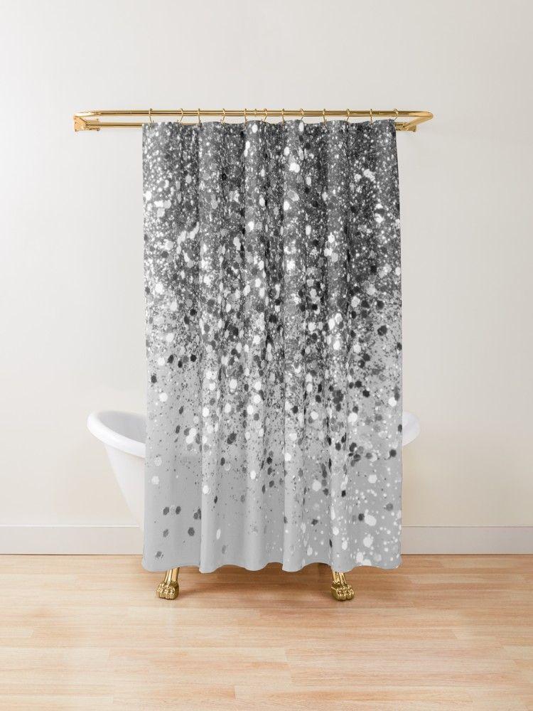 Popular Bath Sinatra Bling Jacquard Silver Grey Fabric Shower
