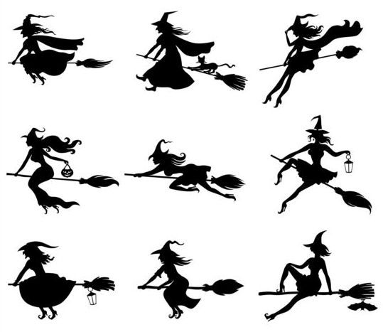 9 Kind witch silhouette vector